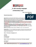 HindiHelpGuru DELED 503 Question Paper English Learning Languages