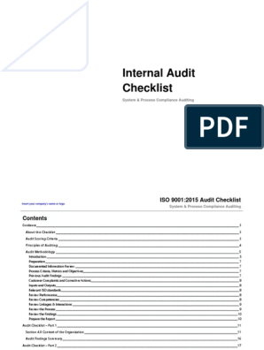 ISO 9001 2015 Internal Audit Checklist Sample | Internal Audit | Audit