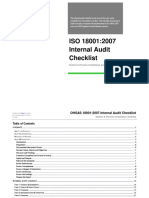 OHSAS 18001 2007 Internal Audit Checklist
