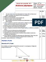Devoir de Contrôle N°1 - Physique - 3ème Informatique (2010-2011) Mr YOUNSI Dhaoui