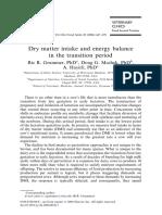 Consumo de Materia Seca y Balance Energético en Periodo de Transición