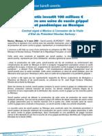 Sanofi-aventis - Investissement dans le vaccin grippal saisonnier et pandémique (communiqué de presse)