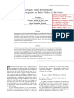 SATO, Leny Et Al. Psicologia e Saúde Do Trabalhador, Investigações Na Saúde Pública de São Paulo