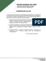 COMUNICADO PNP N° 08 - 2018