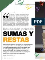 Educación privada. Sumas y restas