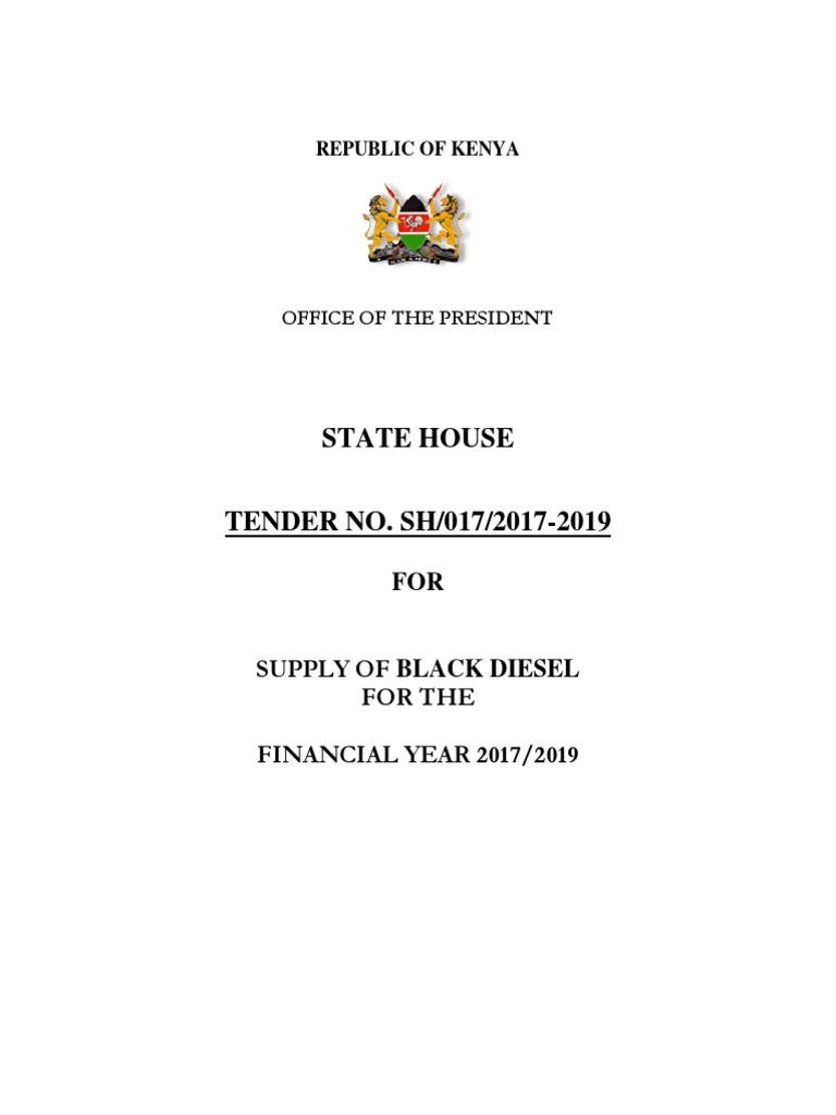 TENDER NO  SH/017/2017-2019 FOR SUPPLY OF BLACK DIESEL