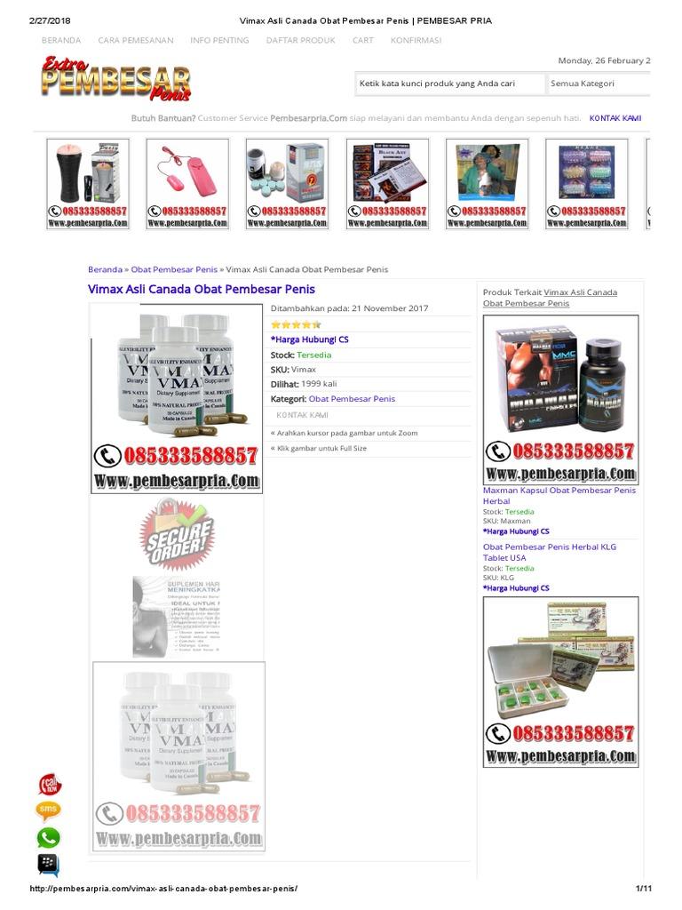 Vimax Asli Canada Obat Pembesar Penis 085333588857 Alat Vital Herbal Klg Pil Original
