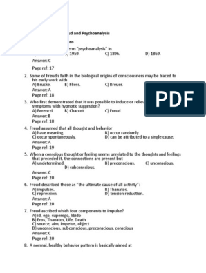 Chapter 1 Sigmund Freud And Psychoanalysis Multiple Choice Ques