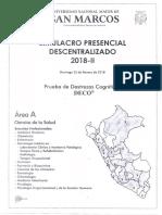 Unmsm Simulacro Presencial Desentralizado 2018 - II (Area a)