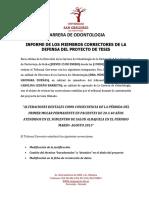 Informe de Los Miembros Correctores de La Defensa Del Proyecto de Tesis