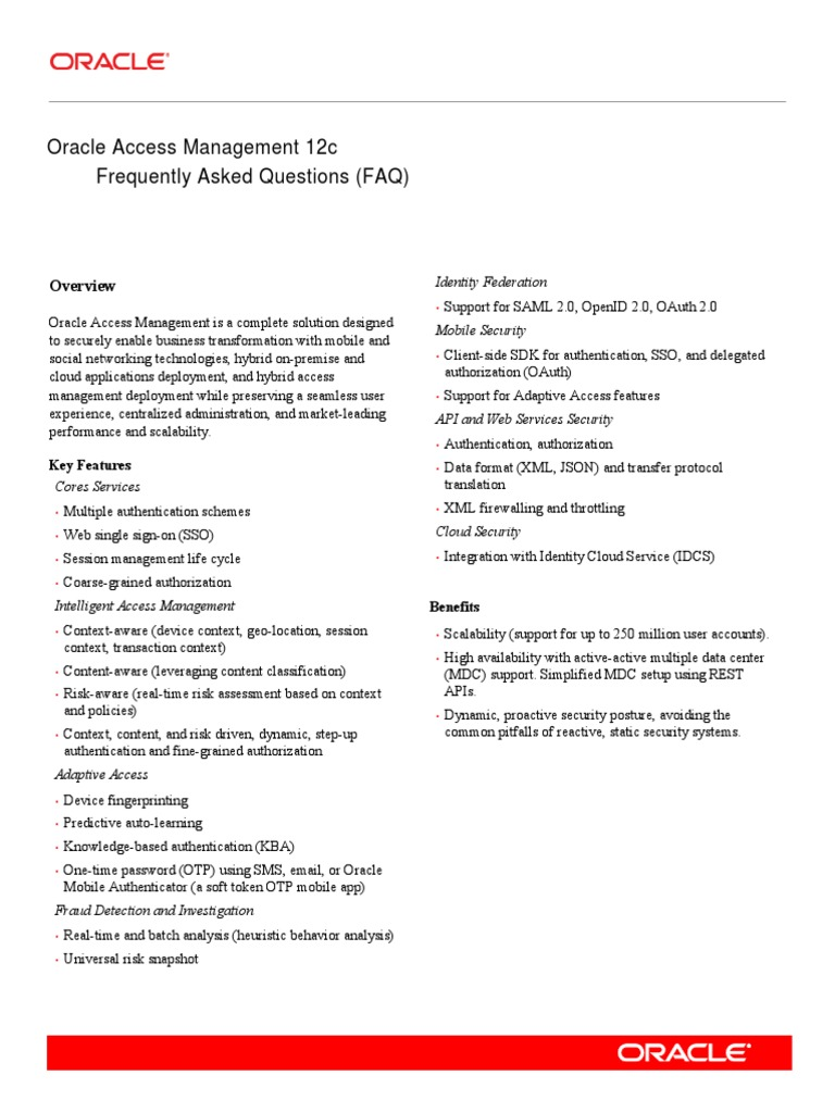 Accessmgt Faq 12c Final 3867791 | Oracle Corporation