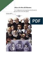 De La Teoría Crítica a La Ética Del Discurso