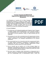Declaración Consejo Industrial Del MERCOSUR. Negociaciones Unión Europea
