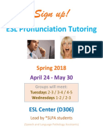 ESL Pronunciation Tutoring Spring 2018