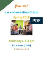 ESL Conversation Group  Spring 2018