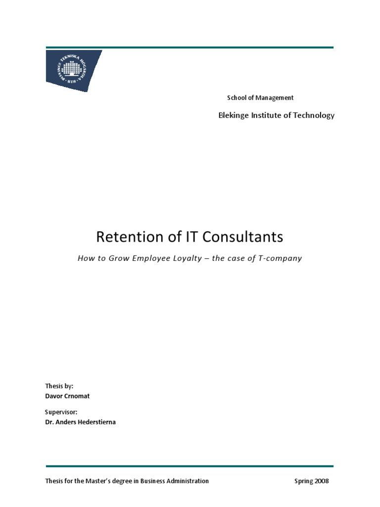 Master thesis on employee retention