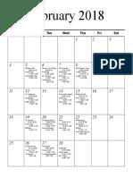 Senior Schedule 2018