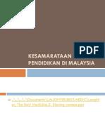 Kesamarataan Peluang Pendidikan Di Malaysia. Pemulihan. Khas 9