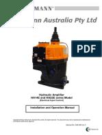 HA Series Hydraulic Amplifier Electrical - Installation Operation Manual - Rev F