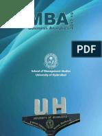 University of Hyderabad MBA Business Analytics Information Brochure