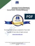 Management  IT Service Principles –Methodologies and Framework