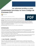 Citação_ Conceito, Natureza Jurídica e Modalidades Previstas No CPC_2015