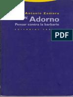 Theodor W. Adorno Pensar Contra La Barbarie
