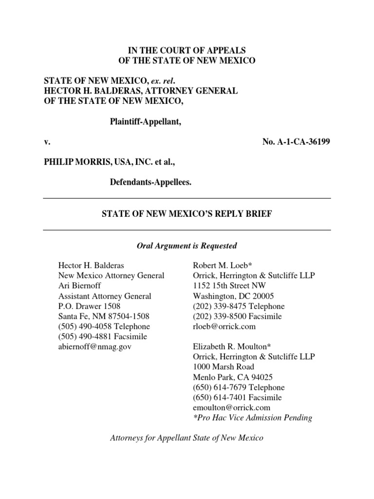 State of NM Reply Brief | Arbitration | Arbitral Tribunal
