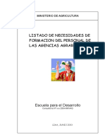 Necesidades de Capacitación de las Agencias Agrarias Perú.