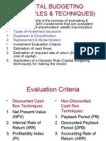 Capital Budgeting (Principles & Techniques)