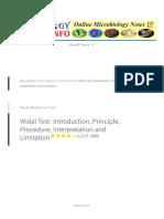 Widal Test- Introduction, Principle, Procedure, Interpretation and Limitation
