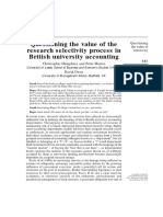 Questioning the Value of the Research Selectivity Process in British University Accounting