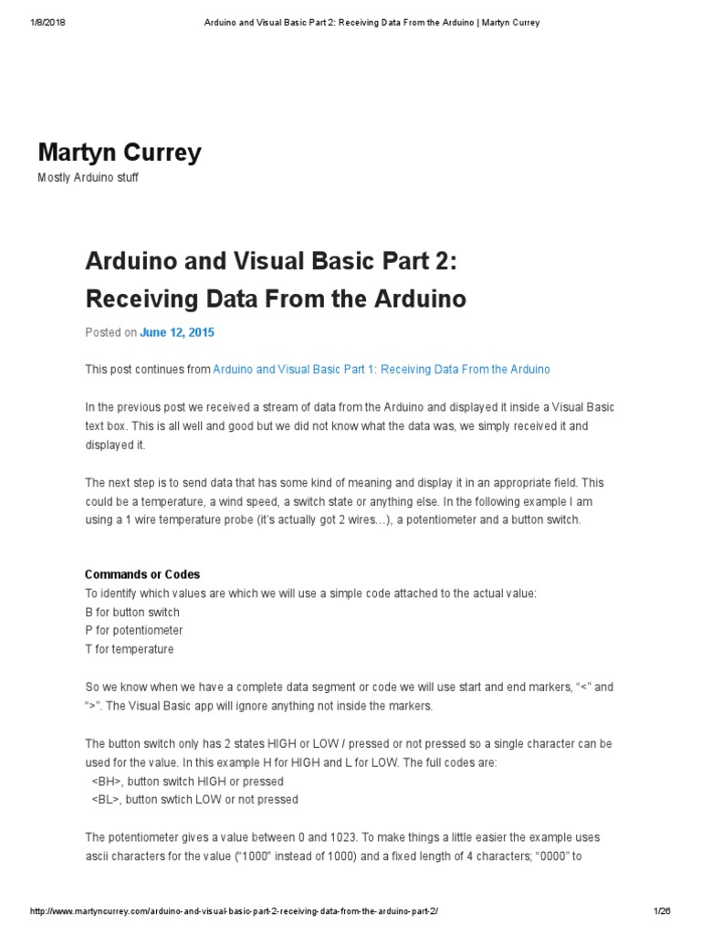 Arduino and Visual Basic Part 2_ Receiving Data From the