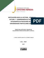 Motivación Hacia La Lectura, Hábito de Lectura y Comprensión de Textos en Estudiantes de Psicología de Dos Universidades Particulares de Lima