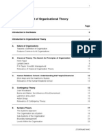 The Development of organisational Theory