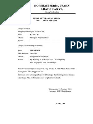 Surat Keterangan Kerja Koperasi Serba Usaha