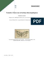 Tentative Check List of Serbian Microlepidoptera-SM