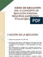 Tema 15. Concepto de Ejec Forzosa. Sus Pps y Eletos