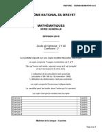 Brevet Maths 2016 Pondichery