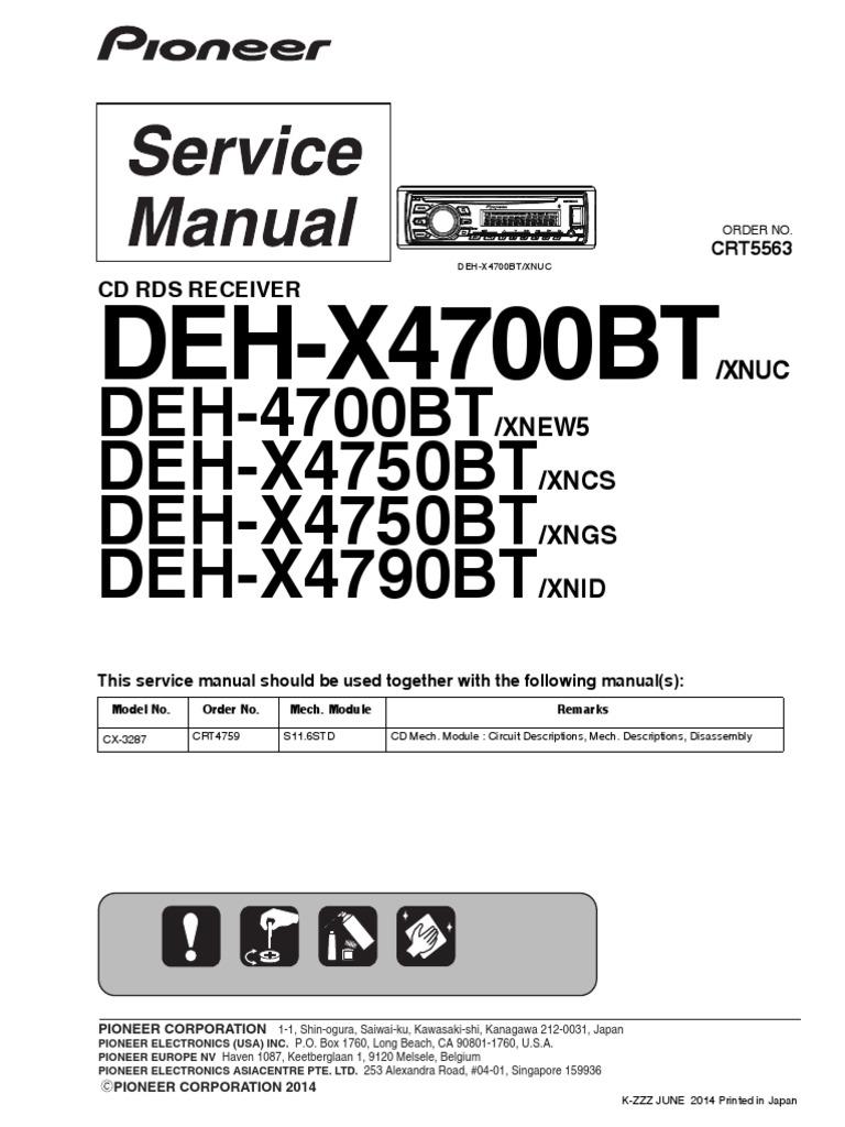 Pioneer Deh X4700bt Wiring Diagram