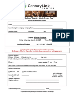 Blake Shelton Club Seat Order Form