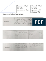 classroom values worksheet