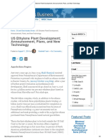 US Ethylene Plant Development; Announcement, Plans, And New Technology
