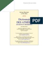 Marechal Dictionnaire des Athées anciens et modernes.