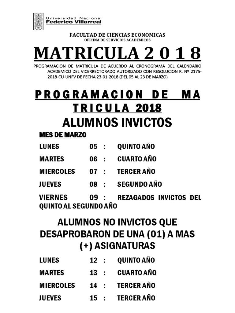 Matricula 2018 FCE UNFV