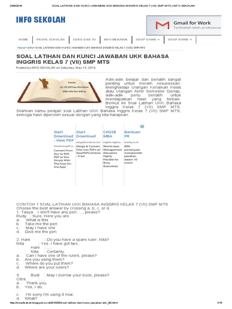 Soal Latihan Dan Kunci Jawaban Ukk Bahasa Inggris Kelas 7 Vii Smp Mts Info Sekolah