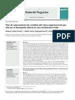 Plan de mejoramiento de variables del clima organizacional