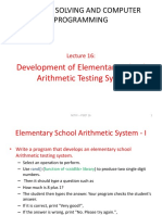 PSCP Lecture 16 Development of Elementary School Arithmetic Testing System