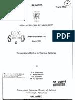 Temperature Control of Thermal Batteries