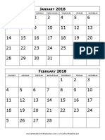2018 Calendar Two Months Per Page